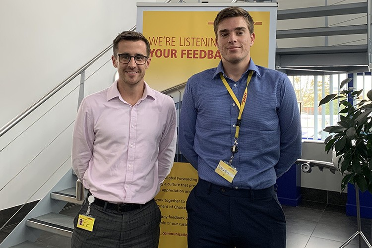 Freight Forwarding Apprentices Set Sail to Success: Carl and Stuart standing next to each other